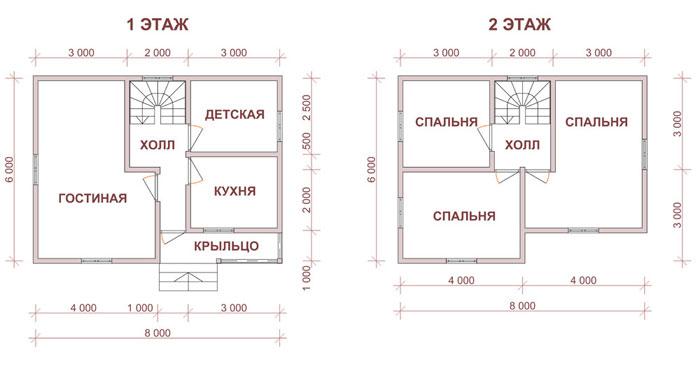 Фото планировки двухэтажных домов